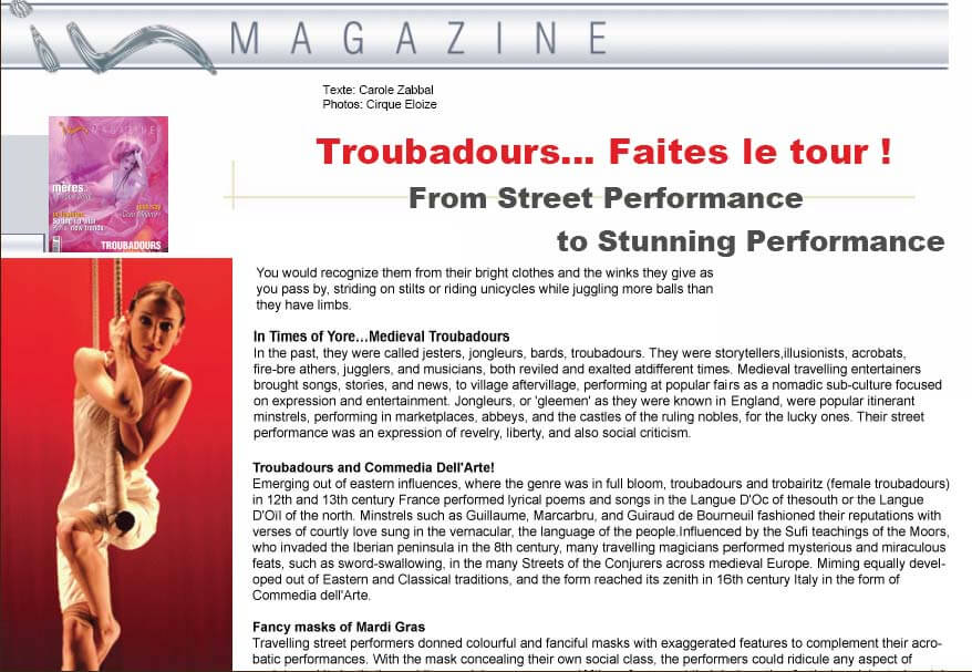 Troubadours – In Magazine