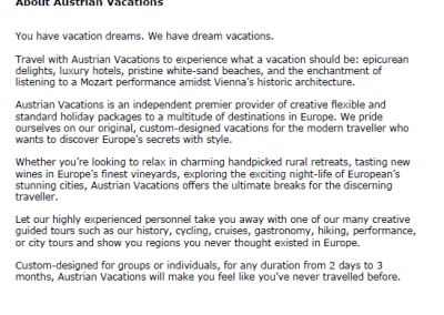 Austrian Vacations